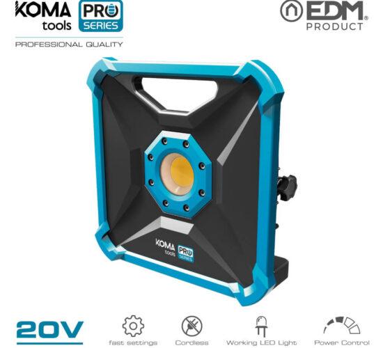 Foco proyector led 20w 1800 lumens 20v (sin bateria y cargador) koma tools pro series battery edm