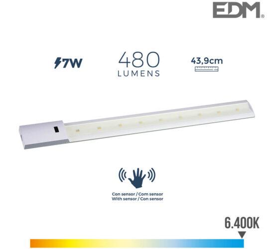 Regleta led con sensor 7w 480 lumens 6.400k luz fria edm