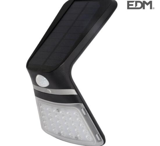 Aplique solar 3,5w 430 lumen recargable sensor presencia (2-8m) color negro edm