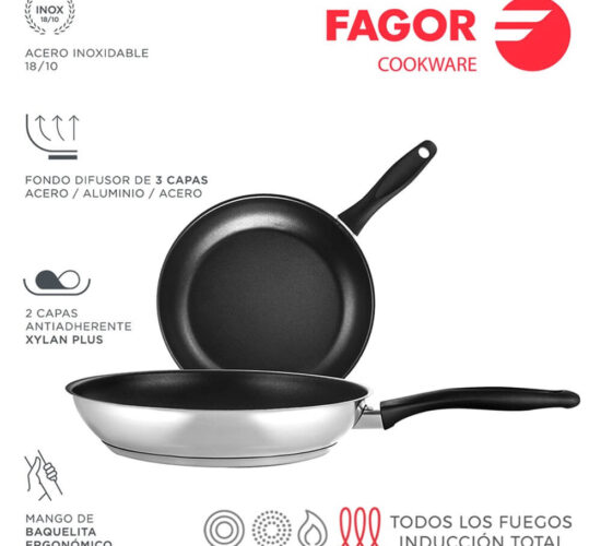 Conjunto sarten inox enara ø20-26cm acero inoxidable 18/10 Fagor